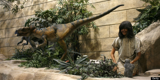 Animatronic dinosaurs and people are throughout the Creation Museum as pictured March 20, 2007, in Petersburg, Kentucky. The museum is a $27 million religious showcase scheduled to open Memorial Day.  (Photo by Mark Cornelison/Lexington Herald-Leader/MCT via Getty Images)