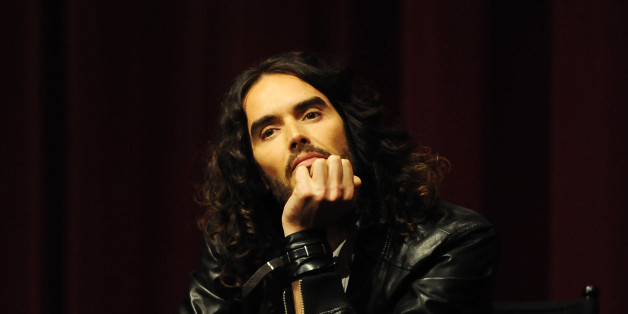 LOS ANGELES, CA - APRIL 02: Russell Brand moderates the Q&A at the 'Meditation In Education' Global Outreach Campaign Event at The Billy Wilder Theater at the Hammer Museum on April 2, 2013 in Los Angeles, California. (Photo by Amy Graves/WireImage)
