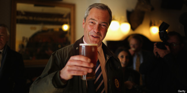 SOUTH SHIELDS, ENGLAND - APRIL 30:  UK Independence Party (UKIP) Leader Nigel Farage enjoys a pint of beer after canvassing with the party?s local candidate for South Shields on April 30, 2013 in South Shields, England. The UK Independence party leader, Nigel Farage, said that his party faced 'one or two teething problems' with its 17000 candidates for Thursday's local elections after the suspension of UKIP candidate Alex Wood, who was photographed making a Nazi salute.  (Photo by Christopher Furlong/Getty Images)