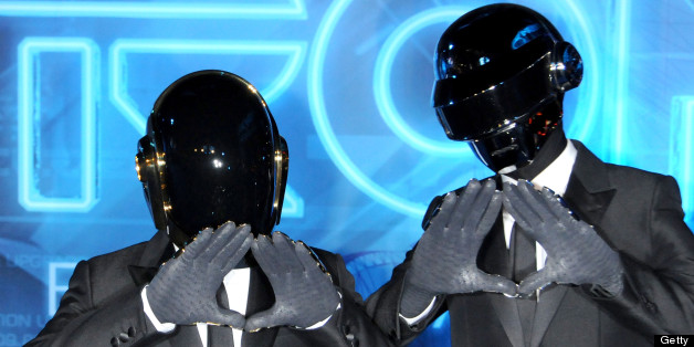 HOLLYWOOD, CA- DECEMBER 11: Daft Punk arrives at the World Premiere of 'TRON: Legacy' at the El Capitan Theatre on December 11, 2010 in Hollywood, California.  (Photo by Gregg DeGuire/FilmMagic)