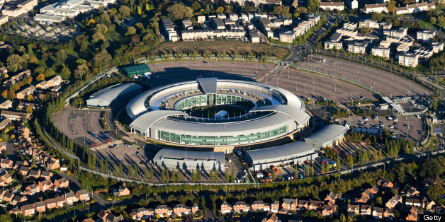 An aerial view of GCHQ Cheltenham, Gloucestershire, UK - GCHQ is the UK Government Communications Headquarters, known locally as the doughnut