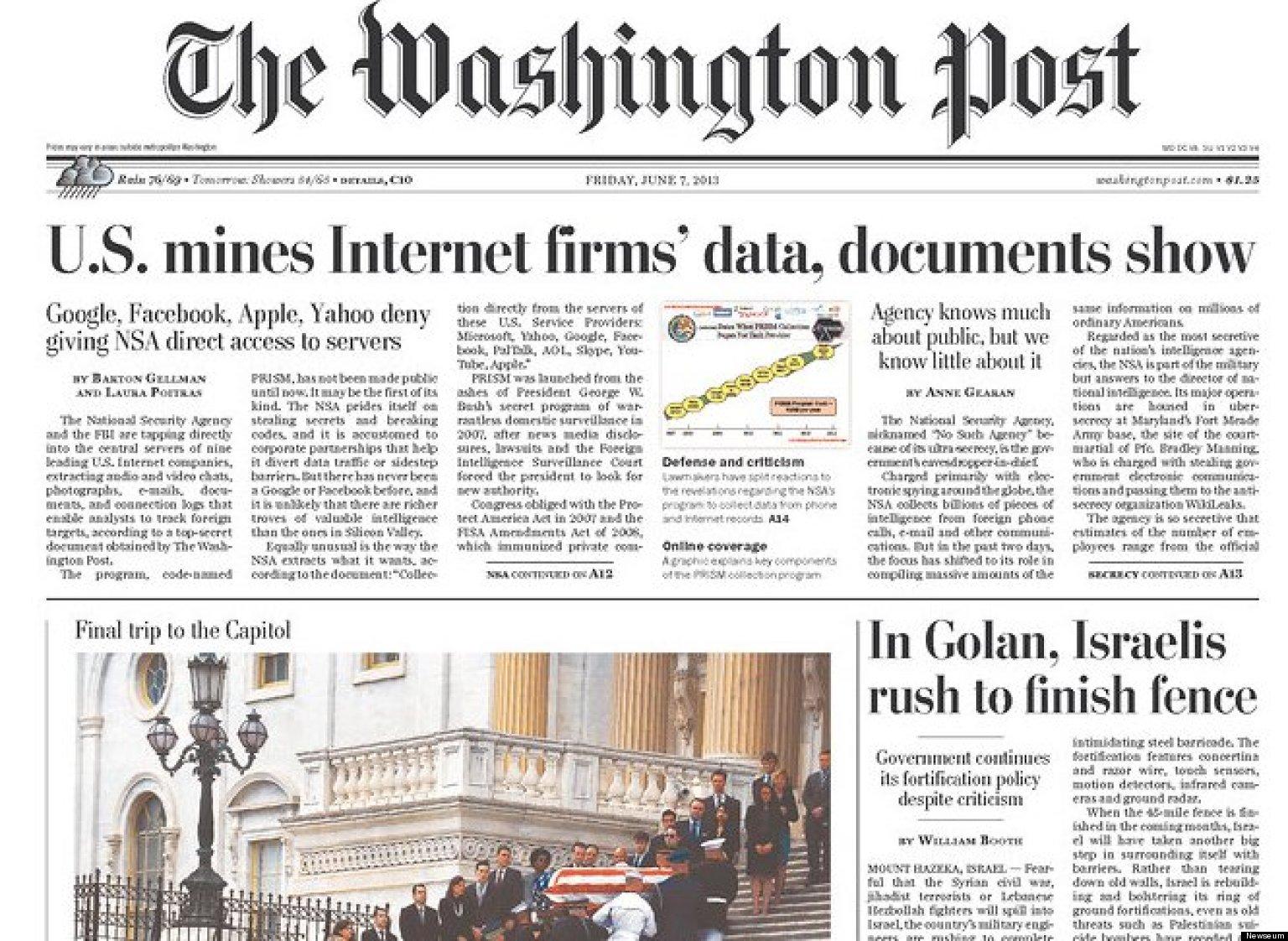 washington post began prism story three weeks ago  heard