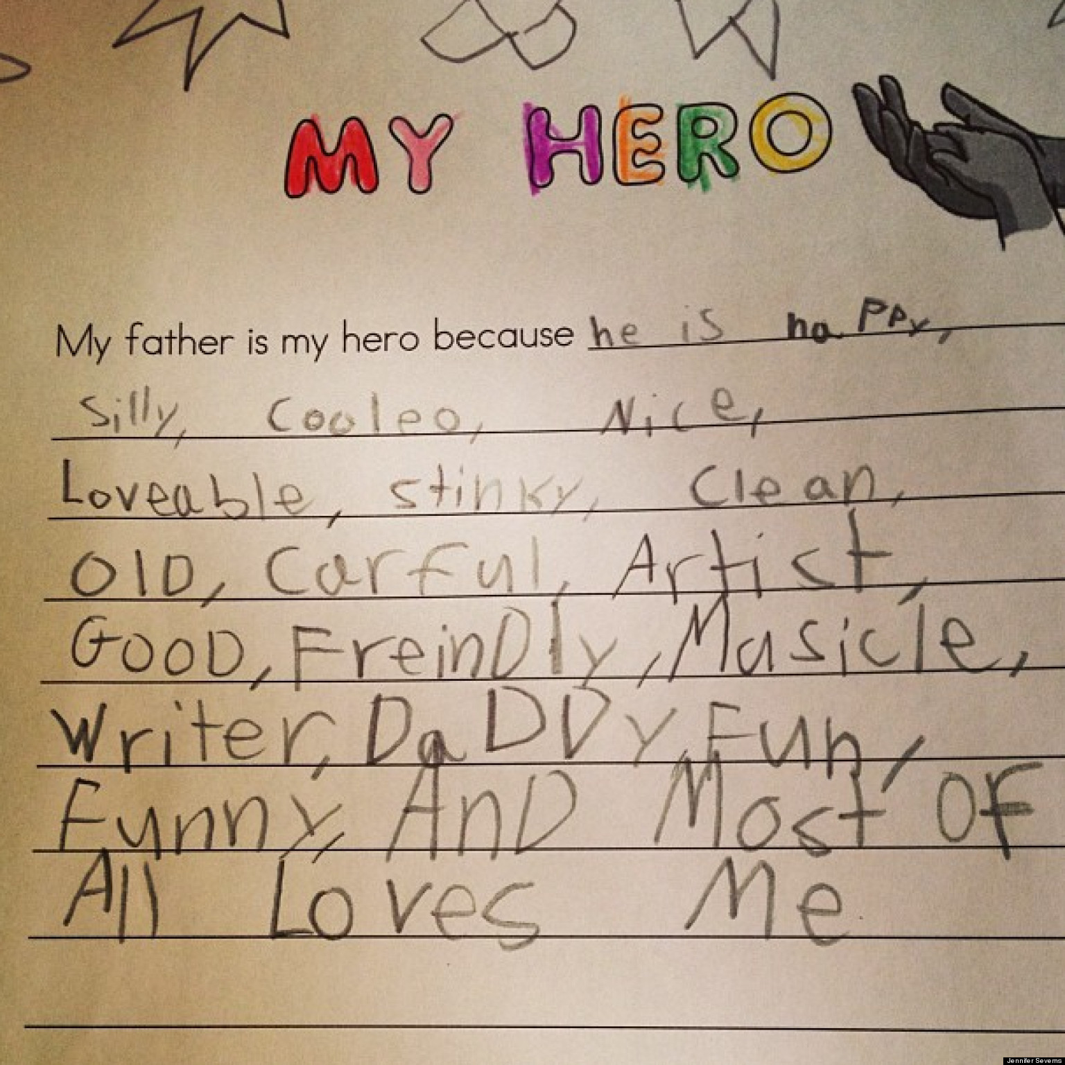 cute kid note of the day my father is my hero huffpost