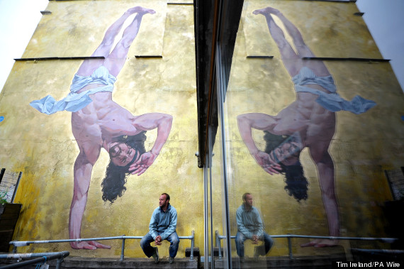 breakdancing jesus mural