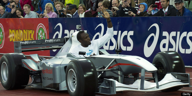 Usain Bolt greets the crowd during the Bislett Games