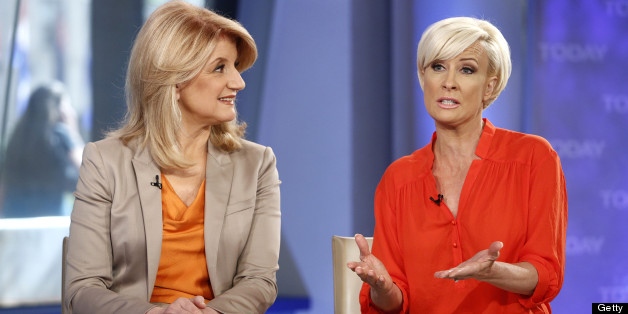 TODAY -- Pictured: (l-r) Arianna Huffington and Mika Brzezinski appear on NBC News' 'Today' show -- (Photo by: Peter Kramer/NBC/NBC NewsWire via Getty Images)
