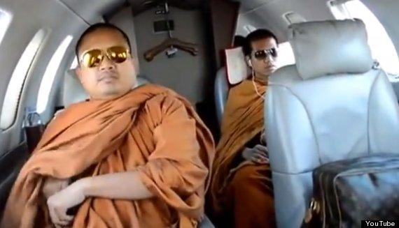 buddhist monks on jet plane