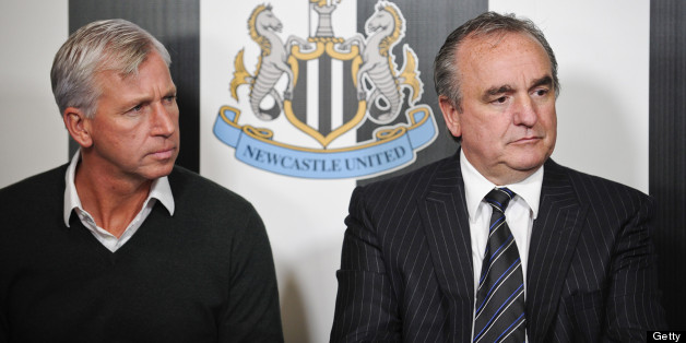 NEWCASTLE UPON TYNE, ENGLAND - OCTOBER 09: Newcastle United's Manager Alan Pardew and Managing Director Derek Llambias during a Newcastle United Press Conference as wonga.com agree a four year shirt sponsorship deal on October 09, 2012, in Newcastle upon Tyne, England. (Photo by Serena Taylor/Newcastle United via Getty Images)