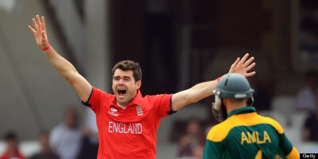 LONDON, ENGLAND - JUNE 19:  James Anderson of England sucessfully appeals for an LBW against Colin Ingram of Souh Africa during the ICC Champions Trophy Semi Final match between England and South Africa at The Oval on June 19, 2013 in London, England.  (Photo by Richard Heathcote/Getty Images)
