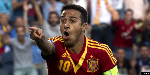 Spain's midfielder Thiago Alcantara celebrates after scoring a goal against Italy during their 2013 UEFA U-21 Championship final football match at Teddy Stadium in Jerusalem on June 18, 2013. AFP PHOTO / JACK GUEZ        (Photo credit should read JACK GUEZ/AFP/Getty Images)