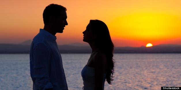 couple in love back light...