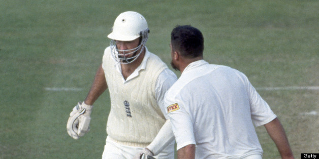 Merv Hughes plays the intimidation game with Graham Hick