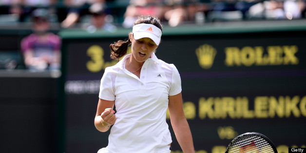 LONDON, ENGLAND - JUNE 25:  Laura Robson of Great Britain celebrates a point during her Ladies' Singles first round match against Maria Kirilenko of Russia on day two of the Wimbledon Lawn Tennis Championships at the All England Lawn Tennis and Croquet Club on June 25, 2013 in London, England.  (Photo by Dennis Grombkowski/Getty Images)