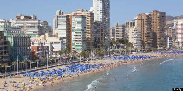 Benidorm, Alicante Province, Costa Blanca, Spain.  Levante beach.