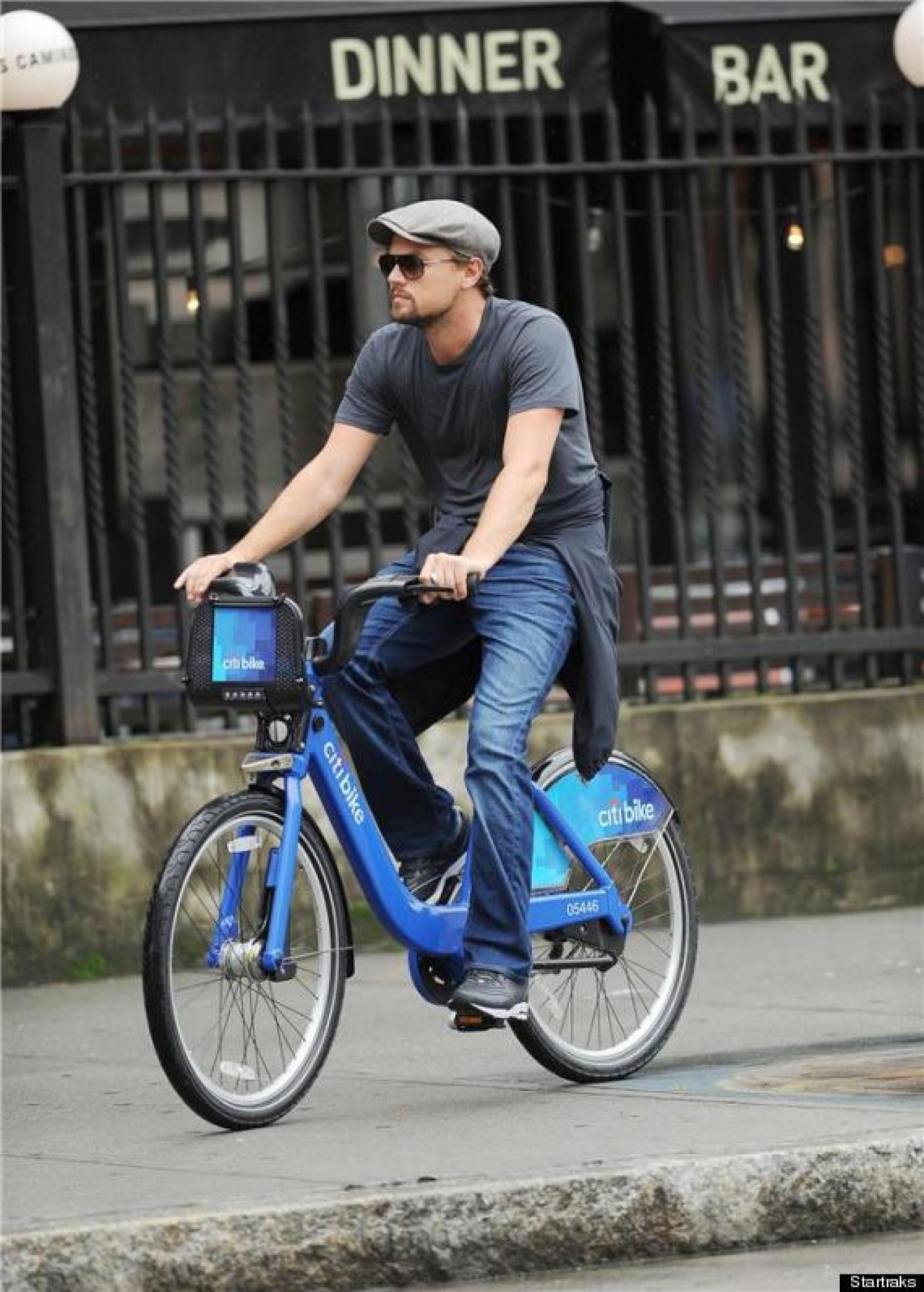 celebrities on citi bikes leonardo dicaprio and more. Black Bedroom Furniture Sets. Home Design Ideas