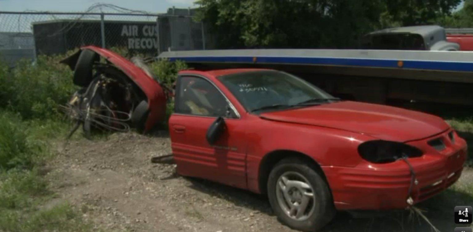 Car Split In Half After Hitting Utility Pole In Iowa Driver