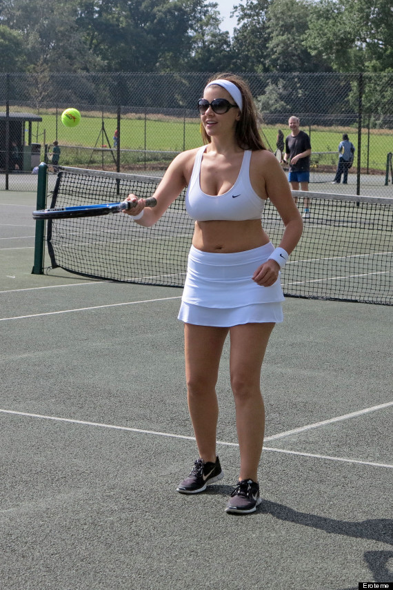 Shameless girl playing tennis naked in front of men crowd - 4 1