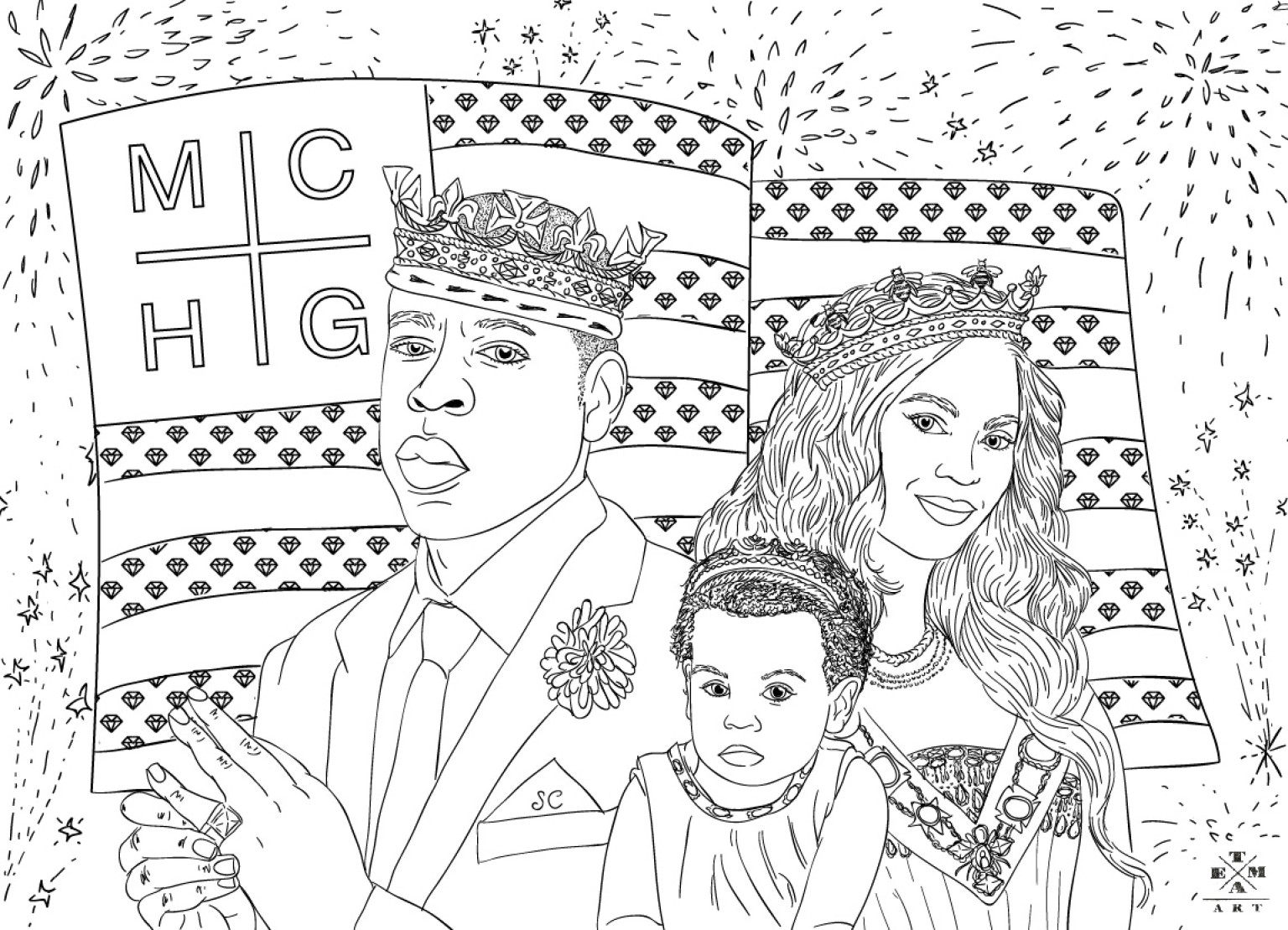 Jay-Z, Beyonce & Blue Ivy Coloring Page: The July 4th American ...