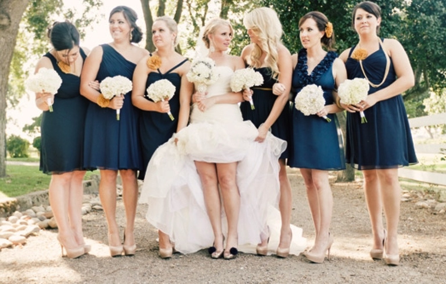 Navy blue bridesmaid dress options photos huffpost for Navy blue dresses for wedding