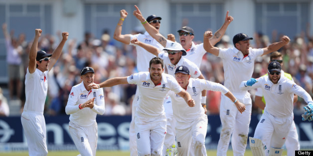 England's James Anderson (R) celebrates after claiming the wicket of Australia's Ashton Agar during the fifth day of the first Ashes cricket test match between England and Australia at Trent Bridge in Nottingham, central England, on July 14, 2013. AFP PHOTO/ANDREW YATES  == RESTRICTED TO EDITORIAL USE. NO ASSOCIATION WITH DIRECT COMPETITOR OF SPONSOR, PARTNER, OR SUPPLIER OF THE ECB ==        (Photo credit should read ANDREW YATES/AFP/Getty Images)