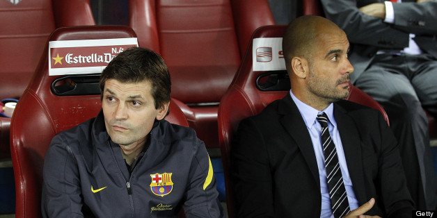 MADRID, SPAIN - MAY 25: Head coach Pep Guardiola (R) of Barcelona looks on beside his assistant Tito Vilanova during the Copa del Rey Final match between Athletic Bilbao and Barcelona at Vicente Calderon Stadium on May 25, 2012 in Madrid, Spain.  (Photo by Angel Martinez/Getty Images)