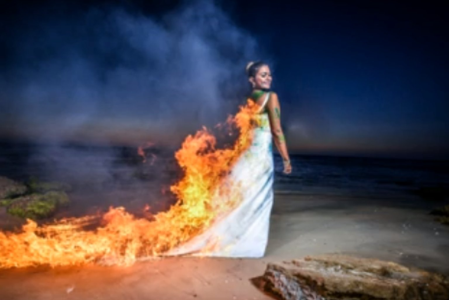 Trash The Dress Bride Sets On Fire In Controversial Photo VIDEO