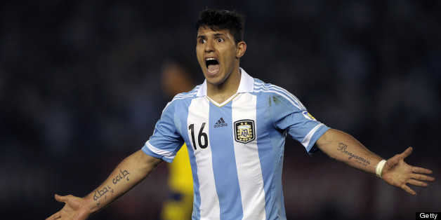 Argentina's Sergio Aguero gestures during the FIFA World Cup Brazil 2014 qualifying match against Colombia at the Monumental stadium in Buenos Aires, on June 7, 2013. AFP PHOTO / Alejandro PAGNI        (Photo credit should read ALEJANDRO PAGNI/AFP/Getty Images)