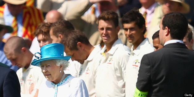 LONDON, ENGLAND - JULY 18:  James Pattinson and Ashton Agar of Australia look on after meeting Queen Elizabeth II during day one of the 2nd Investec Ashes Test match between England and Australia at Lord's Cricket Ground on July 18, 2013 in London, England.  (Photo by Ryan Pierse/Getty Images)