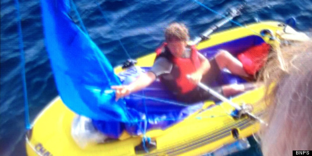 The hapless sailor had two paddles, one of which was being used as a mast