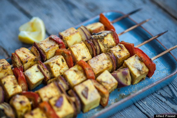 red pepper and paneer skewers