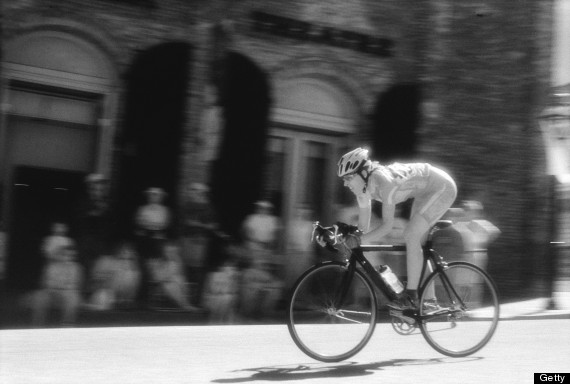 woman cyclist racing
