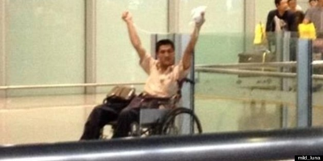 The man in the wheelchair was reportedly ranting