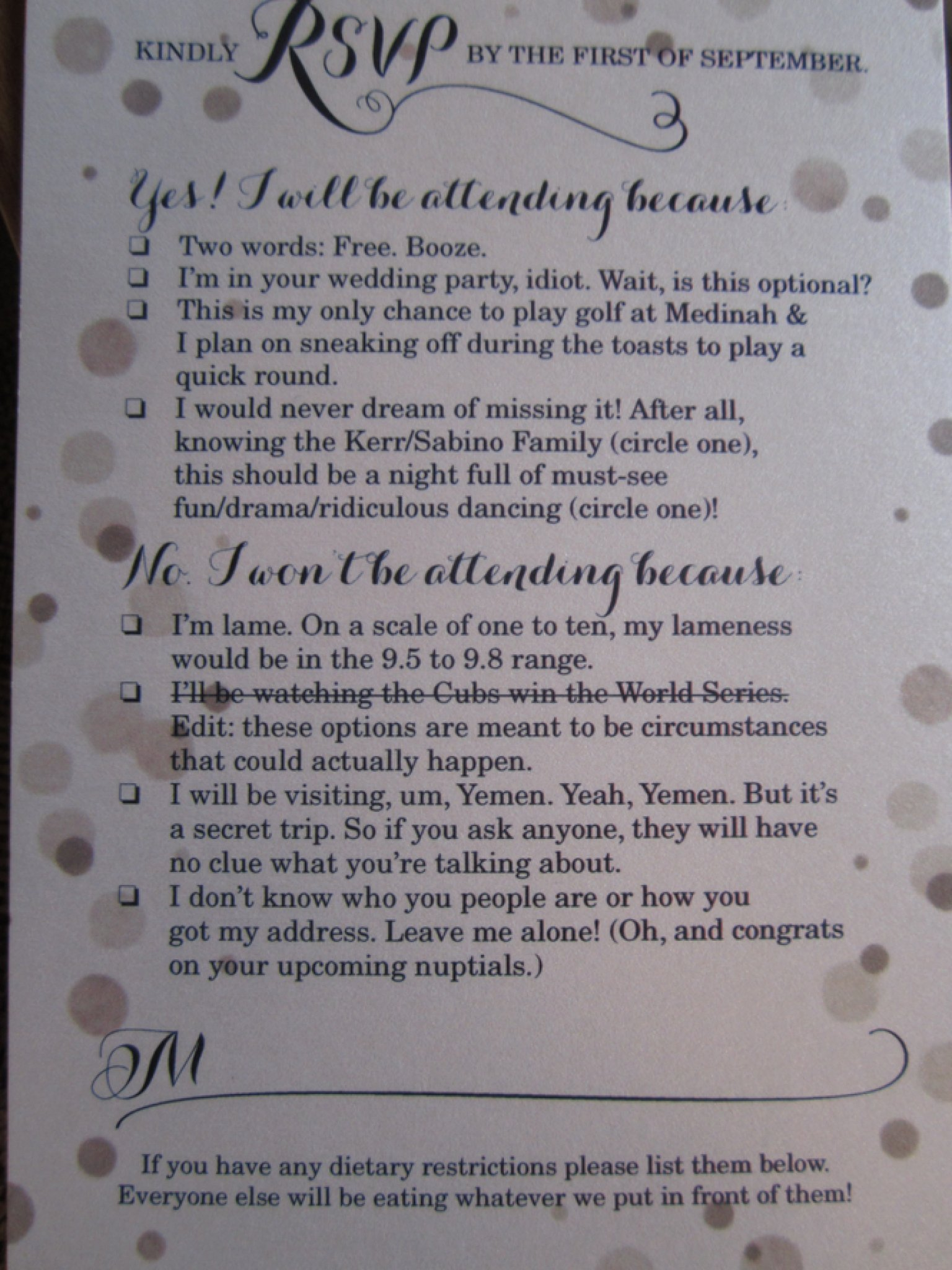 Funny RSVP Card Shows Off Couples Sense Of Humor PHOTO – Humor Invitation Cards