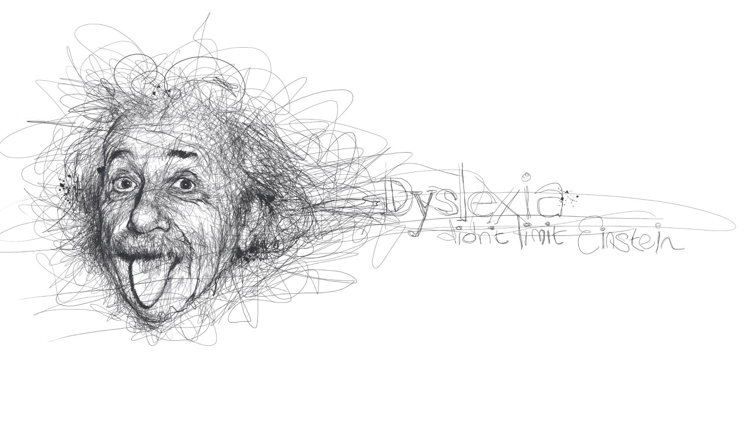 Scribble Into Drawing : Vince low pays homage to famous dyslexics with realistic