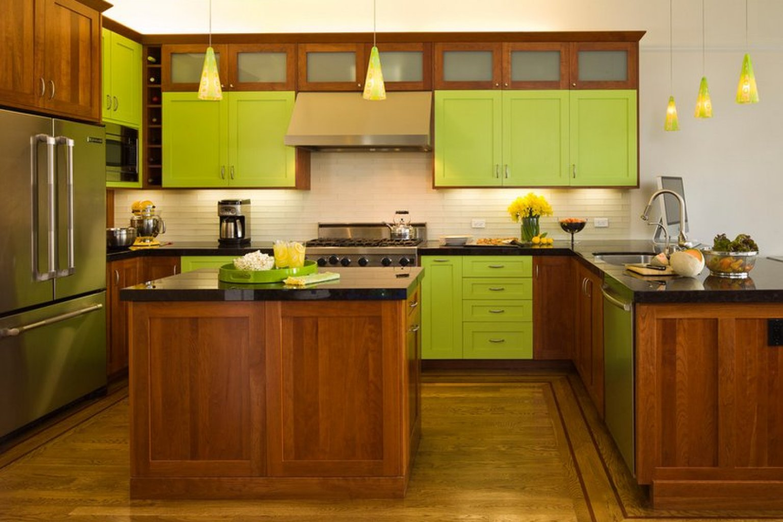 Good Reasons Why You Should Paint Everything Lime Green PHOTOS - Green and grey kitchen ideas