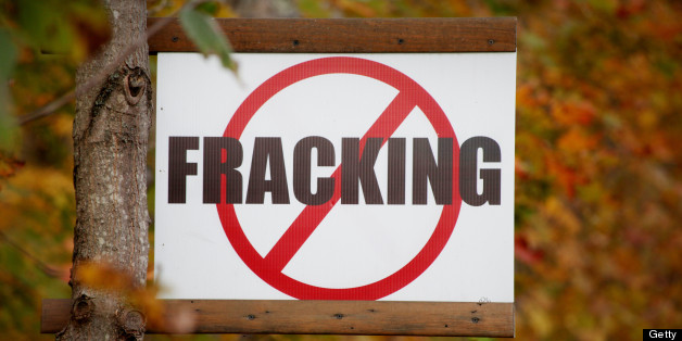 A sign protesting 'fracking,' is posted on a rural road in Tunkhannock, Pennsylvania, U.S., on Wednesday, Oct.19, 2011. The Marcellus Shale, located in the U.S. Northeast, contains natural gas, which is obtained through hydraulic fracturing, a technique in which millions of gallons of water, sand and chemicals are pumped underground to break apart the rock. Photographer: Julia Schmalz/Bloomberg via Getty Images