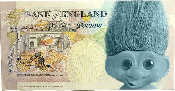 five pound note troll