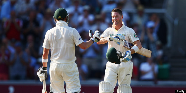 MANCHESTER, ENGLAND - AUGUST 01:  Michael Clarke of Australia celebrates his century with Steve Smith during day one of the 3rd Investec Ashes Test match between England and Australia at Old Trafford Cricket Ground on August 1, 2013 in Manchester, England.  (Photo by Michael Steele/Getty Images)