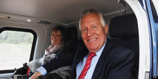 Former Welsh Secretary Peter Hain with his wife Elizabeth
