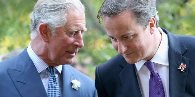 Prime Minister David Cameron and the Prince of Wales chat during a reception for delegates of the Global Investment Conference in the garden of Clarence House, London.