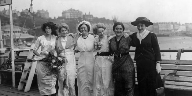 Contestants in an International Beauty Show from; left to right, Misses England, France, Denmark, Germany, Italy and Spain, on Folkestone Pier.   (Photo by Topical Press Agency/Getty Images)