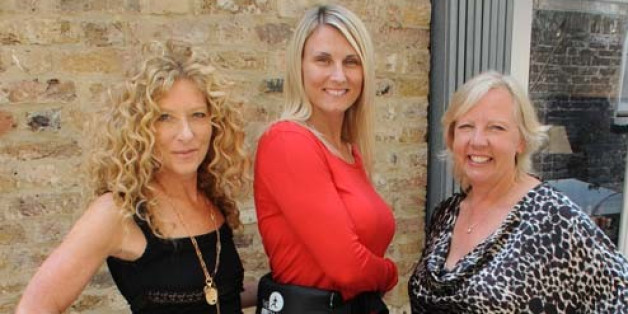Running Mat's Donna Kerr-Foley poses with Deborah Meaden and Kelly Hoppen