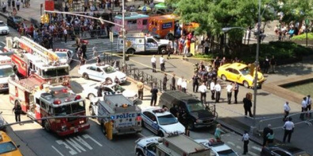 The scene of the accident in midtown, New York