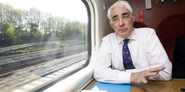 Alistair Darling, U.K. chancellor of the exchequer, speaks during an interview while travelling by train from London to Birmingham, U.K., on Tuesday, April 20, 2010. Darling rejected calls by opposition parties to suspend Goldman Sachs Group Inc. from working for the U.K. government until regulators complete a probe of the New York-based firm. Photographer: Chris Ratcliffe/Bloomberg via Getty Images
