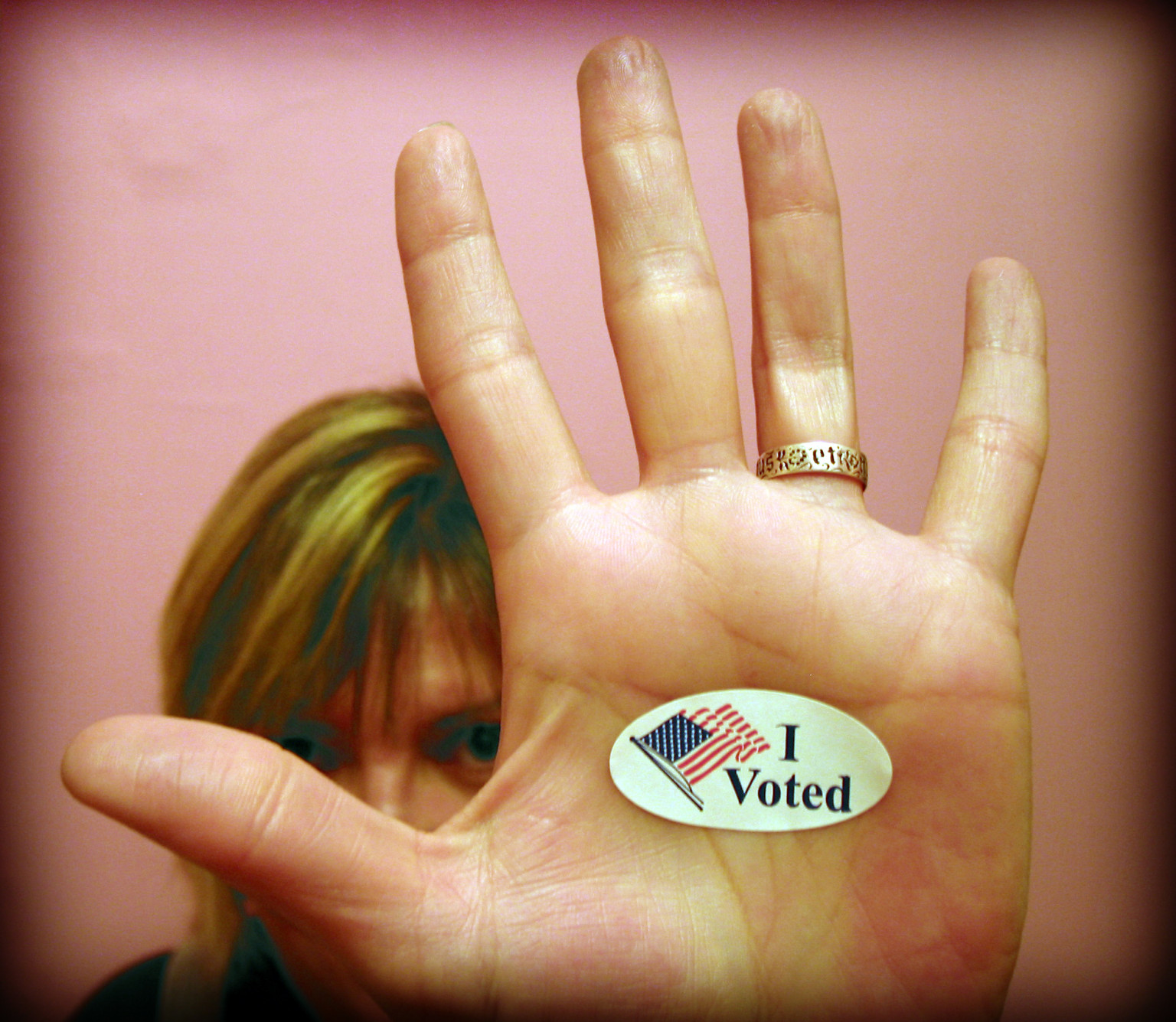 Image result for I voted sticker hand