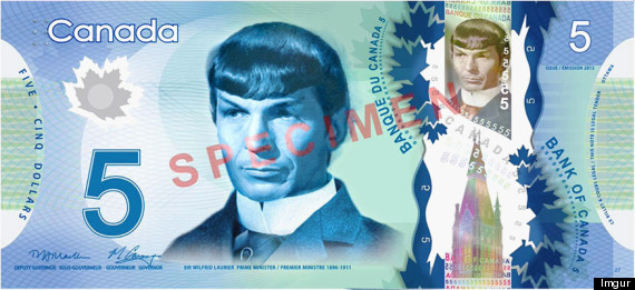 spock canadian 5 bill