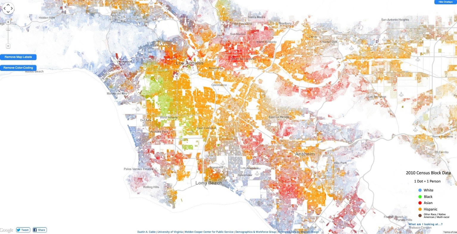 Racial Dot Map In La Highlights Segregation By