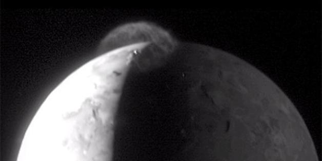 The above eruption by Io's Tvashtar volcano was spotted in 2007 by the New Horizons space craft