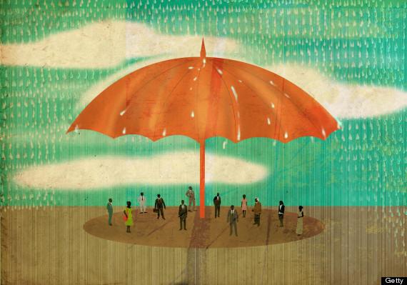 sharing umbrella