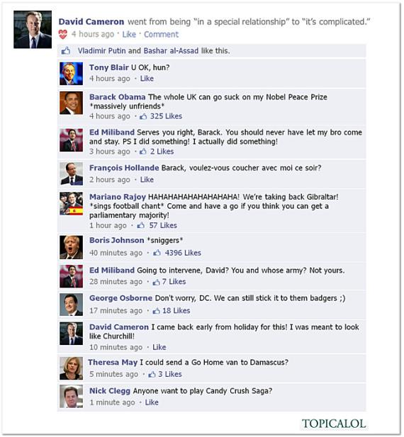 david cameron facebook spoof